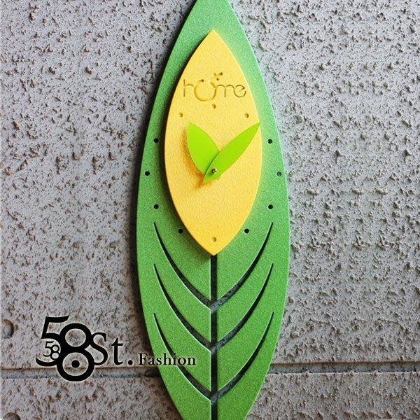 【58街】創意設計師款式「-葉仙子-粉末冶金超靜音掛鍾」金屬特殊鍾。AB-134