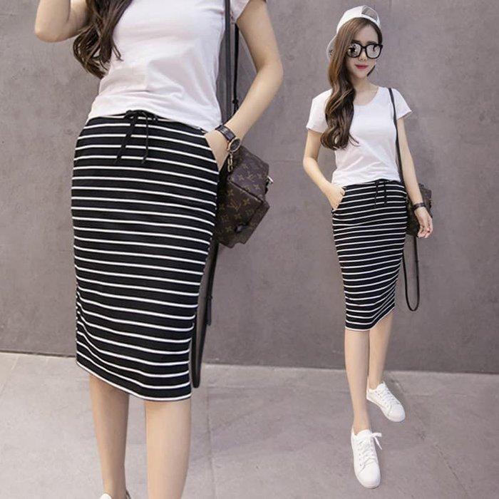 貓姐的團購中心~Z0367 黑白條紋中長包臀半身裙~3種顏色~M-2XL一件350元~預購款