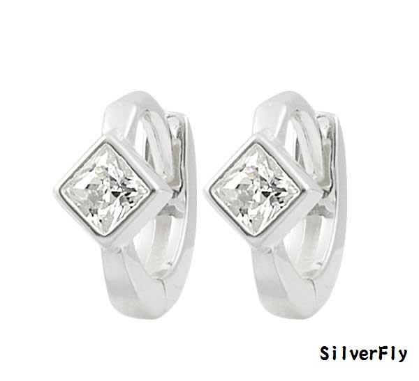 菱形鑽純銀易扣耳環-耳骨款《 SilverFly銀火蟲銀飾 》