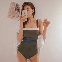 泳衣比基尼連身式比基尼 韓系 併色泳裝二件套 艾爾莎 【TAJ5117】