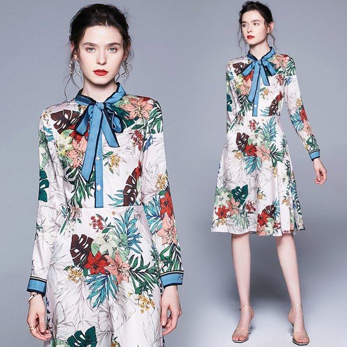 ♥PK漂亮♥ F18094 S~2XL號 白底彩色夏日百合花綠葉印花藍色蝴蝶結領長袖短裙連身洋裝