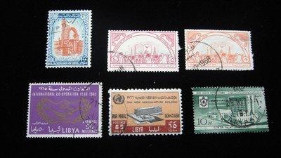 【大三元】歐洲郵票- #2.利比亞-銷戳票6枚