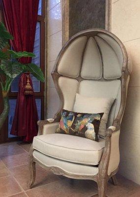 克莉絲汀工房 法式北歐鄉村仿古作舊橡木實木單人造型感布沙發/主人椅/鳥籠太陽蛋形椅/婚紗攝影結婚/店面營業布置特價優惠