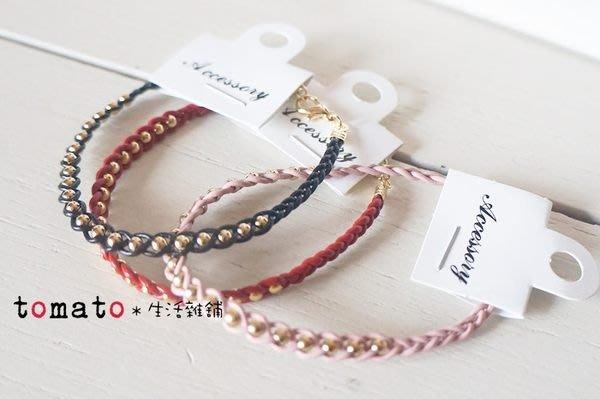 ˙TOMATO生活雜鋪˙韓國進口皮革繩編織辮子串珠珠扣式手鍊可調整