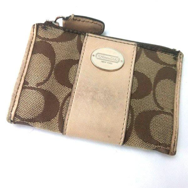 COACH 二手零錢包鑰匙圈 織布圓標LOGO 100%正品