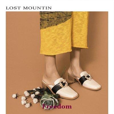 Freedom女鞋孤山原創粗跟穆勒鞋女中跟歐美方頭外穿包頭半拖鞋女春夏新款珍珠