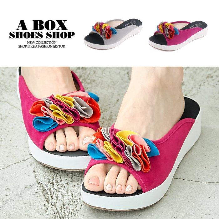 格子舖*【ANA35】4CM楔型鞋 絨面繽紛海帶裙魚口穆勒鞋 2色