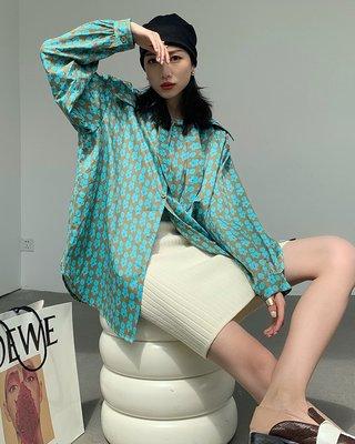 Perfect.韓國專櫃~印花襯衫女長袖中長款2021秋季新款設計感小眾外套寬松正韓上衣