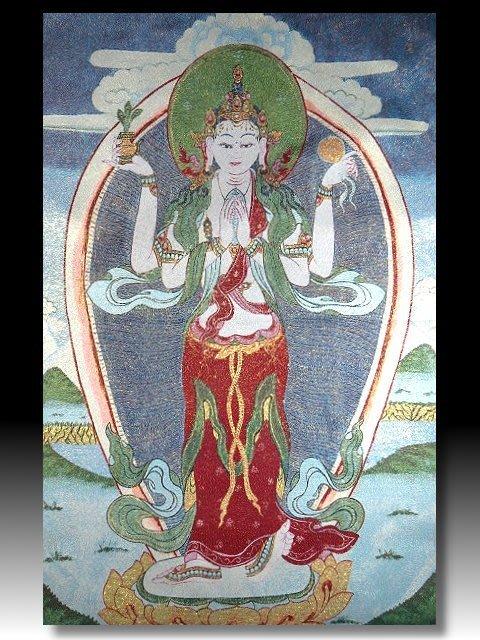 【 金王記拍寶網 】S1400  中國西藏藏密佛像刺繡唐卡 四手觀音 刺繡 (大張) 一張 完美罕見~