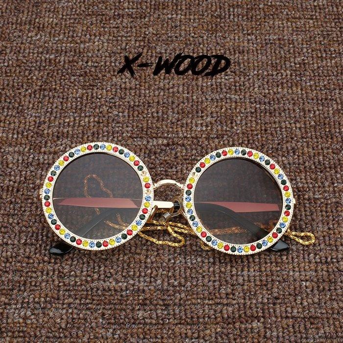 888利是鋪-ins新款歐美網紅同款眼鏡金屬大圓形框帶水鉆墨鏡鑲鉆太陽鏡女潮#復古眼鏡
