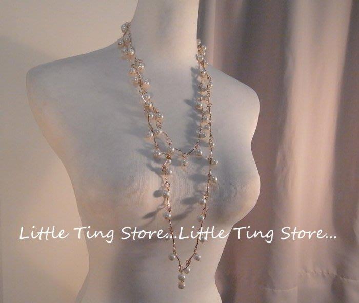 Little Ting Store 婚禮晚宴會適用配件新娘秘書鎖骨鍊垂吊珍珠重疊鏈排鑽圈鍊閃亮長鍊短項鍊
