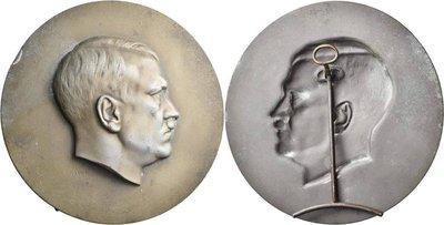 德意志第三帝國納粹時期 希特勒桌上立牌 Hitler medal 直徑10cm 稀有
