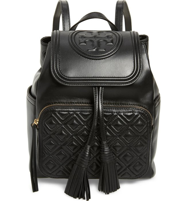 Coco小舖 Tory Burch Fleming Leather Backpack  黑色皮革後背包