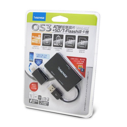 傑仲 (有發票) 逸盛科技 公司貨 ESENSE OS3 ATM智慧晶片+SD/T-Flaas讀卡機 黑