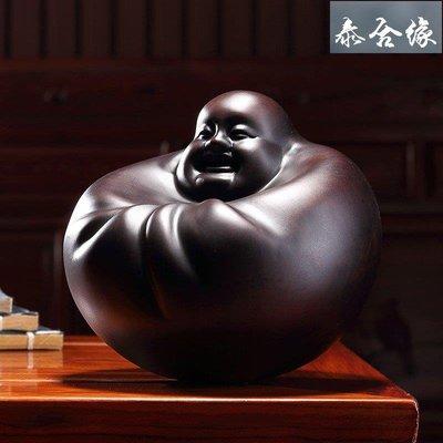 【泰合緣】黃泉福 黑檀木雕刻工藝品擺件搖錢佛彌勒佛古董文玩木雕把玩 20CMTHT7195