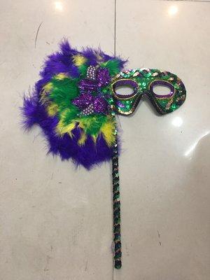 艾蜜莉舞蹈用品*表演道具*化粧舞會派對面具/羽毛手提面具$190元