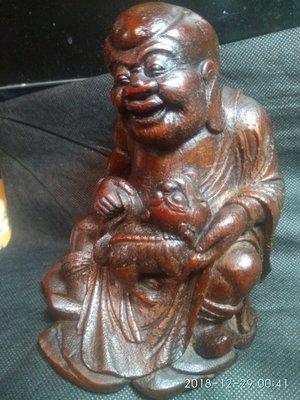 【竹雕館】~清老竹雕胡人戲獅~~   擺把件  高14.5公分