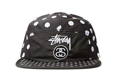 【 超搶手 】全新正品 2014 夏季 女裝 最新款 STUSSY POLKA DOT CAMP CAP 點點 波點 五分割帽 黑色