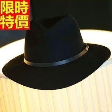 爵士帽 小禮帽-千頌伊同款平檐加厚毛呢女帽子2色67e9[獨家進口][米蘭精品]