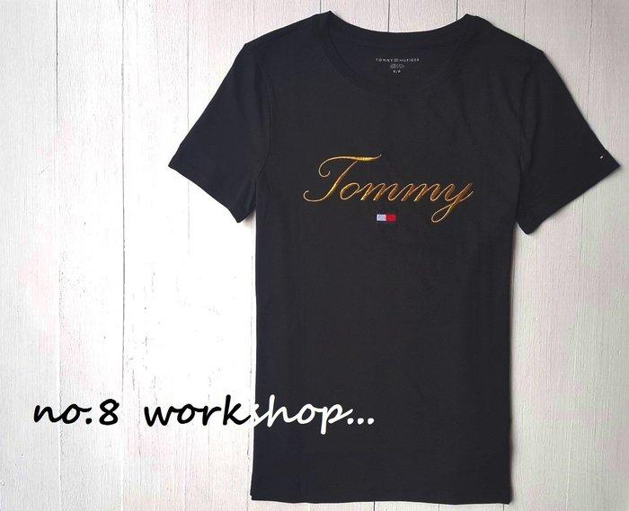 T☆【女生館】☆【TOMMY HILFIGER金線刺繡短袖T恤】☆【TOMG002L1】寬鬆版(XXS-XS-S)原價1399