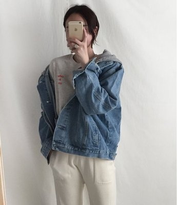 韓國代購 正韓 【 BV3062  】   連帽款寬鬆牛仔外套