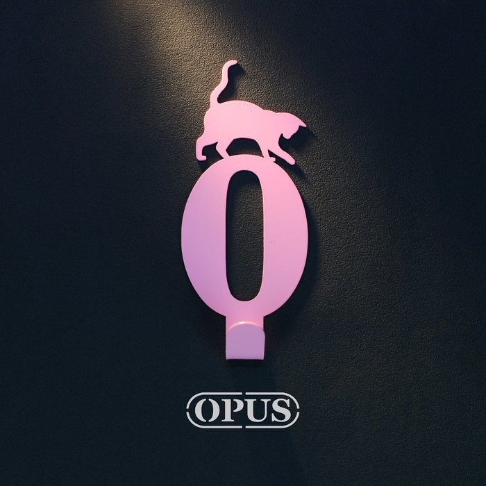 當貓咪遇上數字0《質感粉》壁飾掛勾 號碼無痕掛鉤 居家收納 牆面裝飾壁掛【OPUS東齊金工】HO-nb12-0(P)