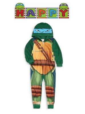 出口美國Ninja Turtles忍者龜藍天使LEO李奧造型搖粒絨連帽連身睡衣(140cm適用)官網同步