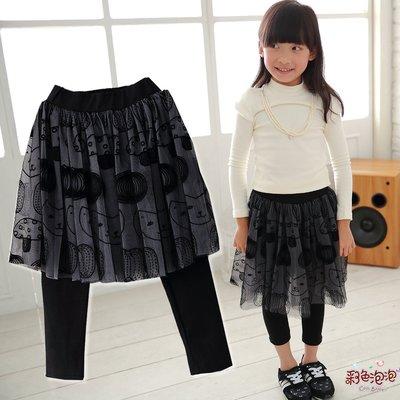 ○。° 彩色泡泡 °。○ 童裝【貨號Q7344】冬。黑色貓咪圖案長紗中厚棉貼腿褲裙