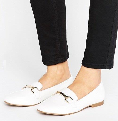 ◎美國代買◎ASOS金屬鏈裝飾鞋面方楦頭膠鞋底時尚中性雅痞風白色金屬鏈方頭平底皮鞋~有大尺碼~歐美街風