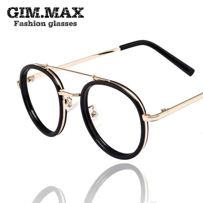GIMMAX青陌 雙鼻梁平光蛤蟆鏡 金屬腿眼鏡架 潮人眼鏡框1760