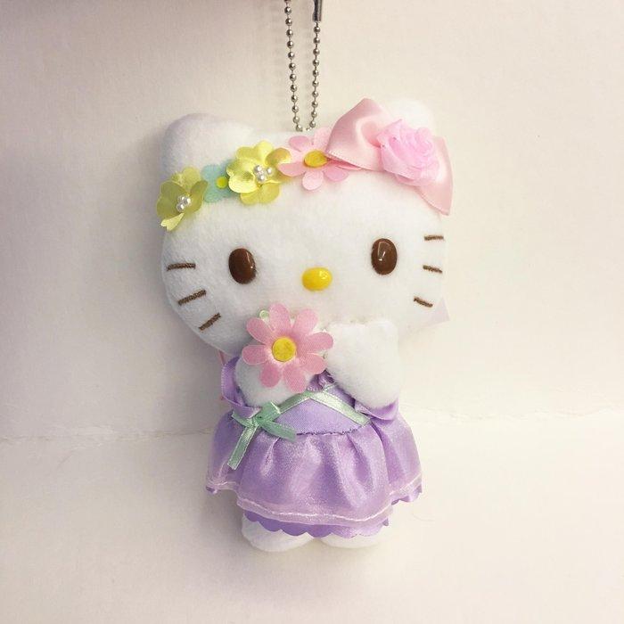^燕子部屋 ^ 正版【Hello Kitty 】毛絨玩偶珠鍊吊飾-花朵