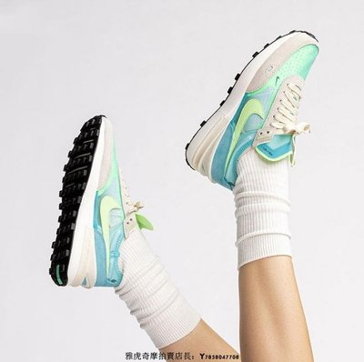 Nike Waffle One Sacai 白綠藍 透氣 經典 華夫 防滑 輕量 慢跑鞋 DC2533-401 女鞋