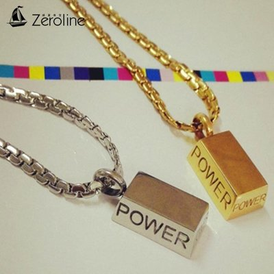 項鍊 POWER能量金塊男士項鏈 個性時尚霸氣日韓版方塊金色鈦鋼情侶吊墜生日禮物