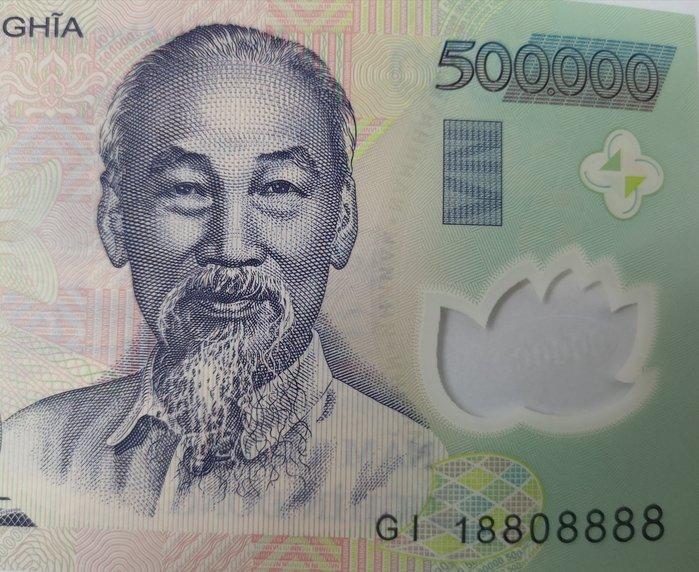 🏆【168 精品】🏆 VIET NAM 越南鈔票 VND500,000、鈔號GI 18808888、品相全新