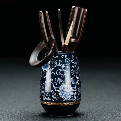 客臨門 青花陶瓷茶道六君子功夫茶具茶盤茶道零配件茶夾茶藝套裝家用kd-177