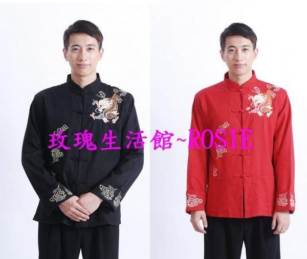 【演出show】~ 肩上龍驣,棉麻男士中國風長袖上衣,紅,黑M~3XL