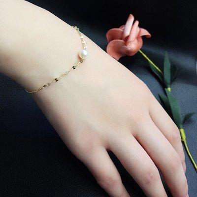 Lissom韓國代購~e 家懶人925銀珍珠手鍊金色簡約時尚細巧手飾正韓設計感手腕配飾