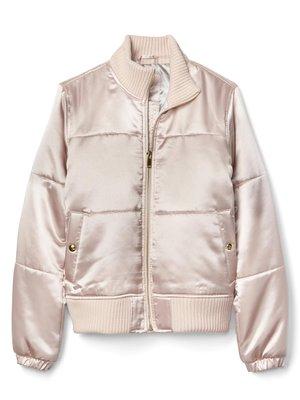 【天普小棧】GAP PrimaLoft satin bomber jacket保暖緞面立領飛行者外套夾克柔粉XS號