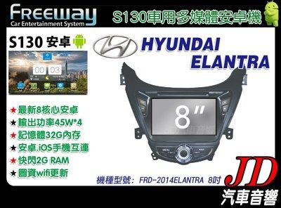 【JD 新北 桃園】FREEWAY HYUNDAI ELANTRA 14年 DVD/數位/導航/ 8吋 S130。安卓機
