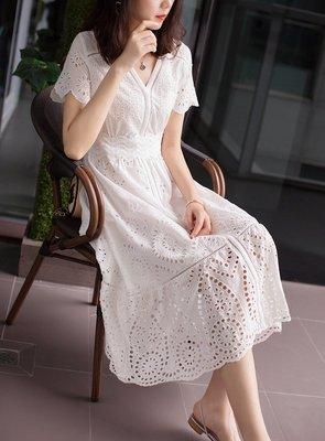 黛兒衣飾♥2019春夏新品~高端氣質名媛V領短袖洋裝中長款L90141