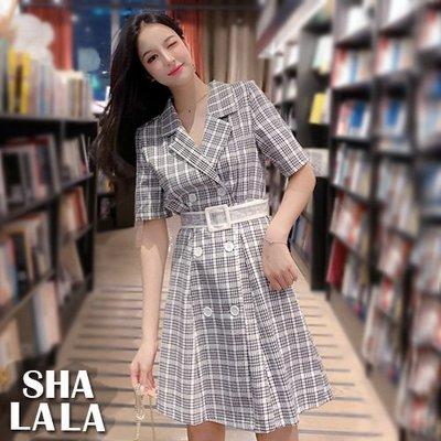 SHA LA LA 莎菈菈 韓版西裝領雙排扣格子收腰短袖連衣裙洋裝附腰帶2色(S~L)2019050504預購款