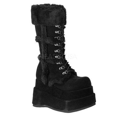 Shoes InStyle《四吋》美國品牌 DEMONIA 原廠正品龐克歌德蘿莉麂皮絨毛厚底楔型中長靴 有大尺碼『黑色』