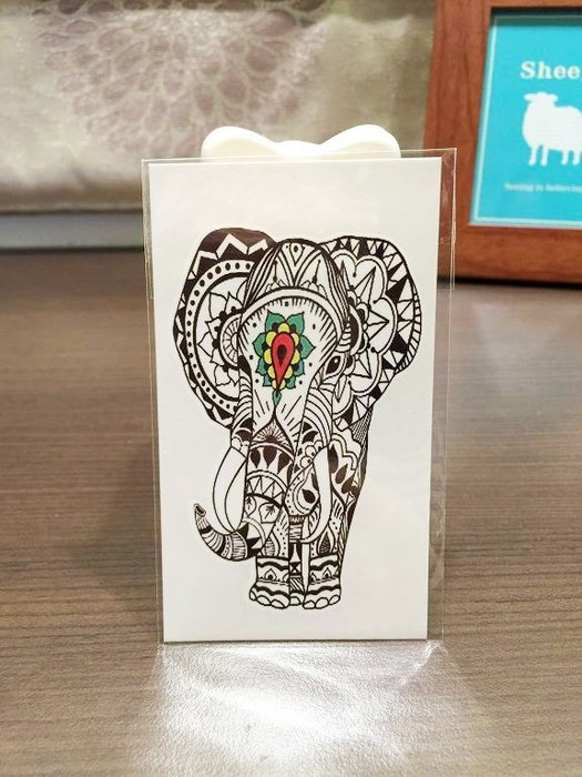 【萌古屋】民族風圖騰大象 - 男女防水紋身貼紙原宿刺青貼紙X-403