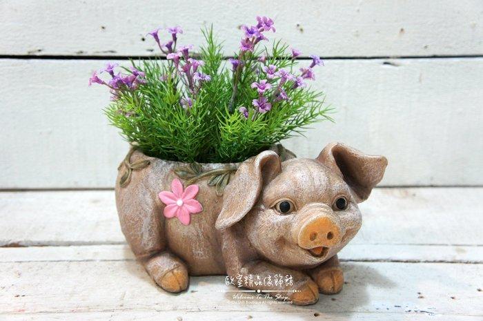 ~*歐室精品傢飾館*~鄉村風格 可愛 仿真 動物 小豬 豬 花卉 花器 筆筒 多肉 植物 雜貨 園藝 居家~新款上市~