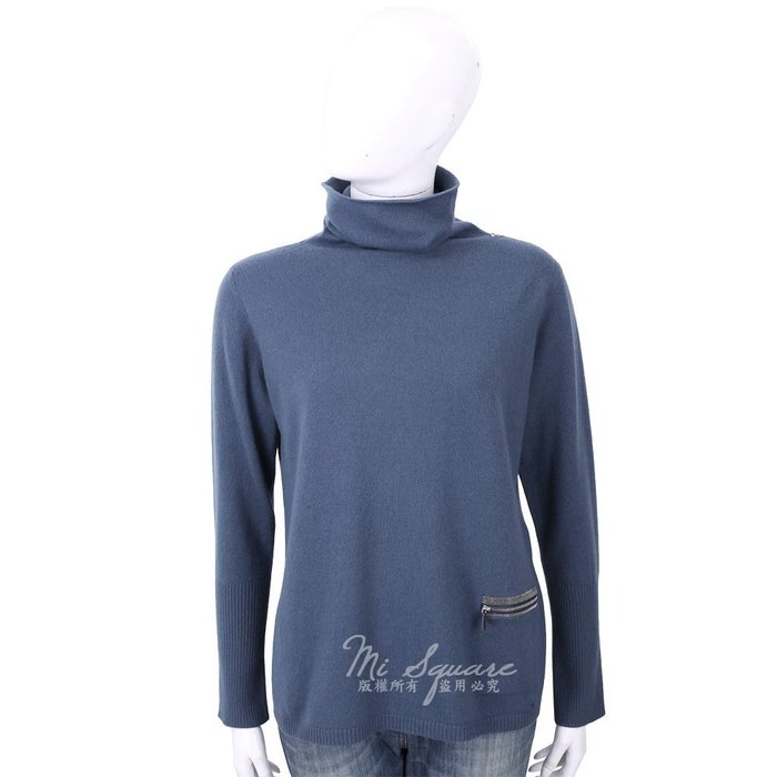 米蘭廣場 FABIANA FILIPPI 坑條細節灰藍色高領美麗諾羊毛衫 1810026-34