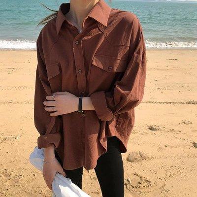 春韓版純色基礎款襯衣寬版翻領口袋單排扣襯衫女C37180