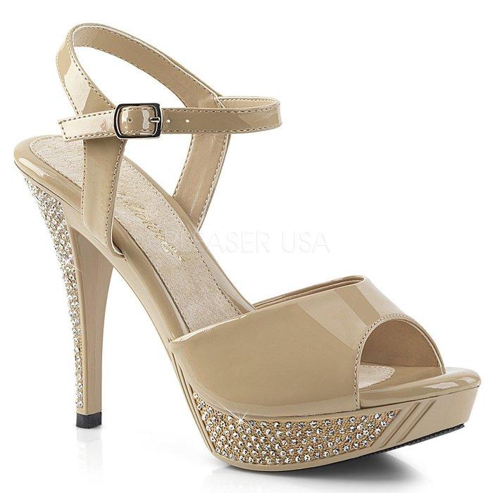 Shoes InStyle《四吋》美國品牌 FABULICIOUS 原廠正品水鑚漆皮厚底高跟涼鞋 『奶油駝色』