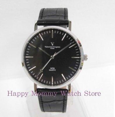 【 幸福媽咪 】valentino coupeau范倫鐵諾 簡約風格皮革錶帶 男錶 黑面 61576SG