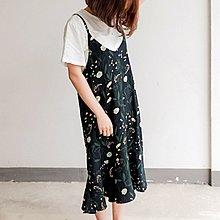 Jomi日系 微甜小清新 優雅迷人花朵雪紡荷葉邊細肩帶連身裙 【JM28-600244】