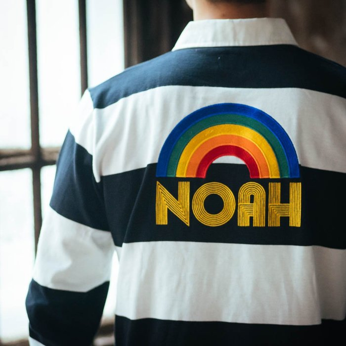 全新商品 Noah NYC 19SS Rainbow Logo Rugby 彩虹 刺繡 長袖 TEE